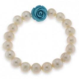 bracciale perle di fiume con fiore