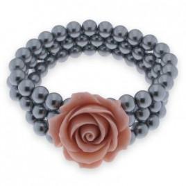 bracciale perle con fiore rosa
