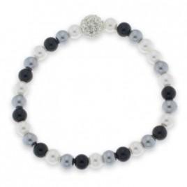 bracciale perle bicolore strass